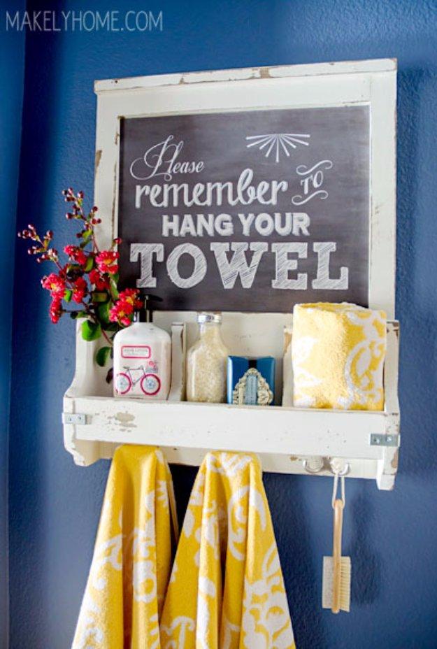 DIY Bathroom Decor Ideas - DIY Chalkboard Art Towel Rack and Bathroom Accessories Holder - Cool Do It Yourself Bath Ideas on A Budget, Rustic Bathroom Fixtures, Creative Wall Art, Rugs mason jar idea bath diy