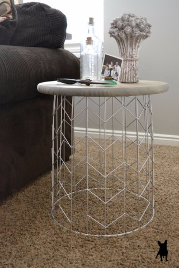 DIY End Tables with Step by Step Tutorials - DIY Circo Wire Bin Side Table - Cheap and Easy End Table Projects and Plans - Wood, Storage, Pallet, Crate, Modern and Rustic. Bedroom and Living Room Decor Ideas #endtables #diydecor #diy