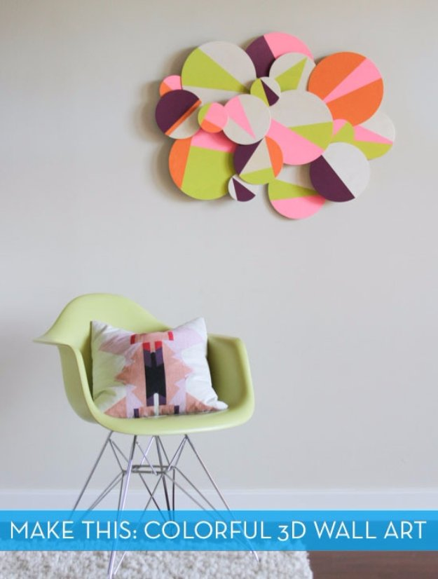 DIY Living Room Decor Ideas - DIY Colorful 3D Geometric Wall Art - Cool Modern, Rustic and Creative Home Decor - Coffee Tables, Wall Art, Rugs, Pillows and Chairs. Step by Step Tutorials and Instructions