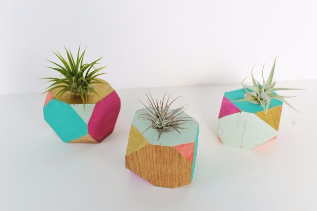 DIY Renters Decor Ideas - DIY Colorful Wooden Geometric Planters - Cool DIY Projects for Those Renting Aparments, Condos or Dorm Rooms - Easy Temporary Wall Art, Contact Paper, Washi Tape and Shelves to Make at Home #diyhomedecor #diyideas