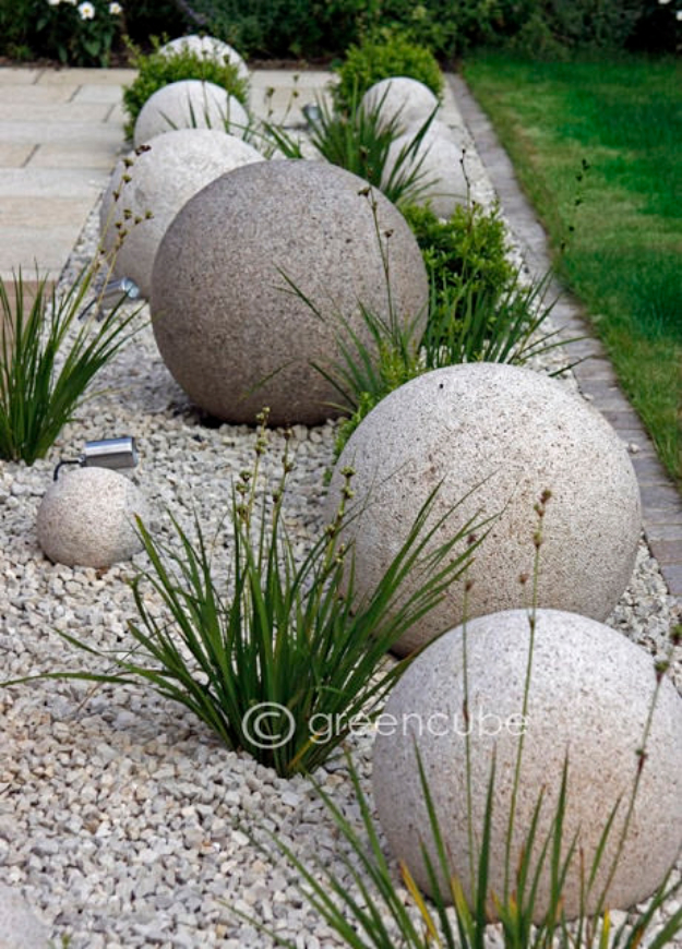 Creative Ways to Increase Curb Appeal on A Budget - DIY Concrete Garden Globes - Cheap and Easy Ideas for Upgrading Your Front Porch, Landscaping, Driveways, Garage Doors, Brick and Home Exteriors. Add Window Boxes, House Numbers