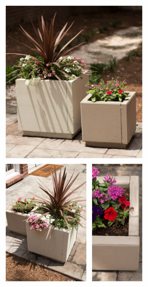 Creative Ways to Increase Curb Appeal on A Budget - DIY Concrete Planters - Cheap and Easy Ideas for Upgrading Your Front Porch, Landscaping, Driveways, Garage Doors, Brick and Home Exteriors. Add Window Boxes, House Numbers