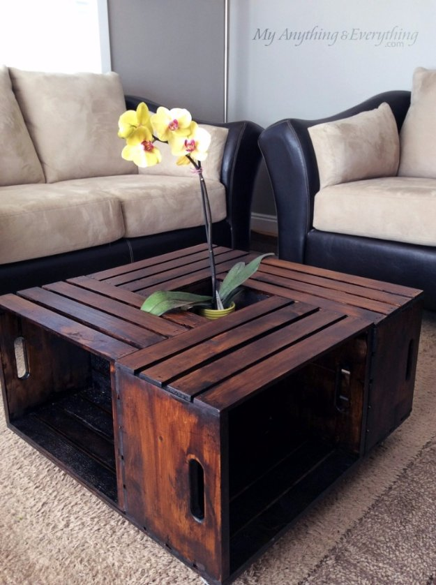DIY Living Room Decor Ideas - DIY Crate Coffee Table - Cool Modern, Rustic and Creative Home Decor - Coffee Tables, Wall Art, Rugs, Pillows and Chairs. Step by Step Tutorials and Instructions