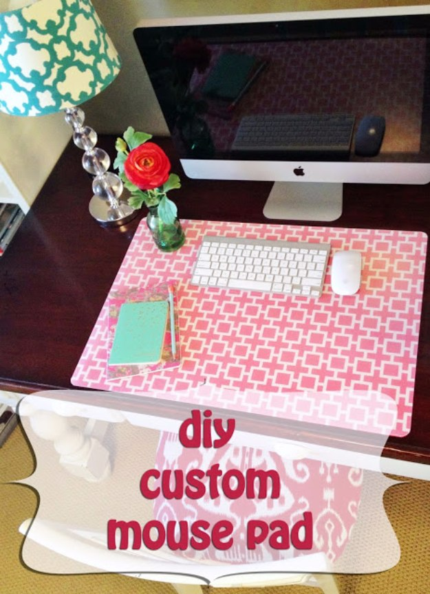 DIY Home Office Decor Ideas   DIY Custom Mouse Pad   Do It Yourself Desks,