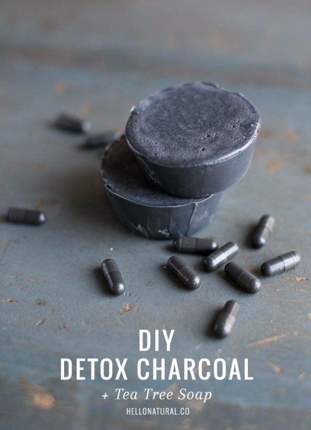 DIY Detox Recipes, Ideas and Tips - DIY Detox Charcoal And Tea Tree Soap - How to Detox Your Body, Brain and Skin for Health and Weight Loss. Detox Drinks, Waters, Teas, Wraps, Soup, Masks and Skincare Products You Can Make At Home http://diyjoy.com/diy-detox-ideas
