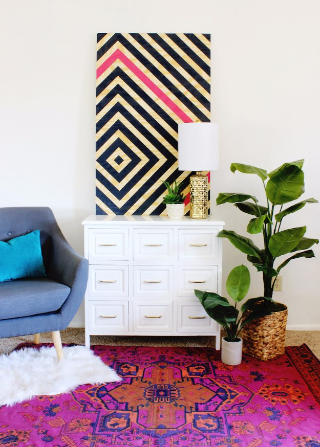 DIY Home Office Decor Ideas - DIY Diamond Ripple Wall Art - Do It Yourself Desks, Tables, Wall Art, Chairs, Rugs, Seating and Desk Accessories for Your Home Office #office #diydecor #diy