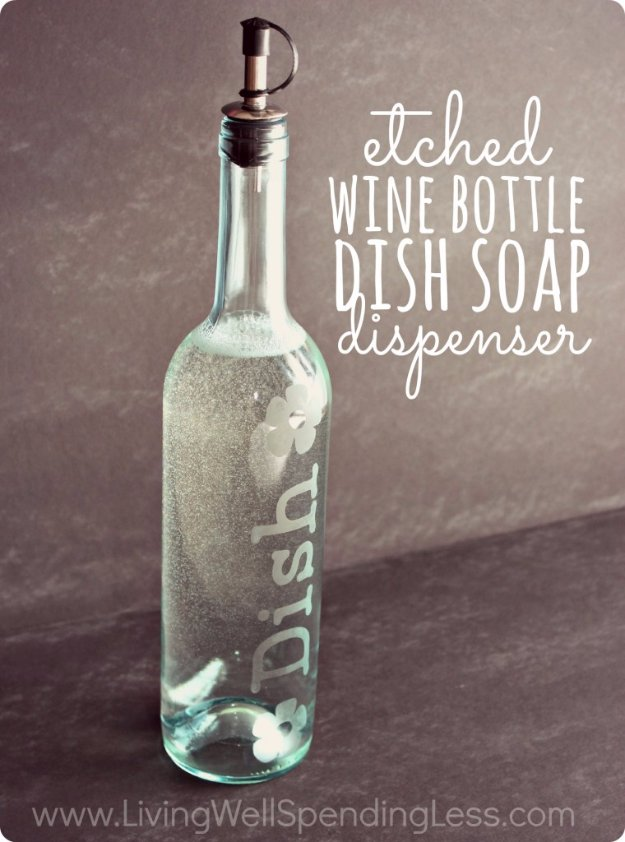 DIY Kitchen Decor Ideas - DIY Etched Wine Bottle Dish Soap Dispenser - Creative Furniture Projects, Accessories, Countertop Ideas, Wall Art, Storage, Utensils, Towels and Rustic Furnishings #diyideas #kitchenideass