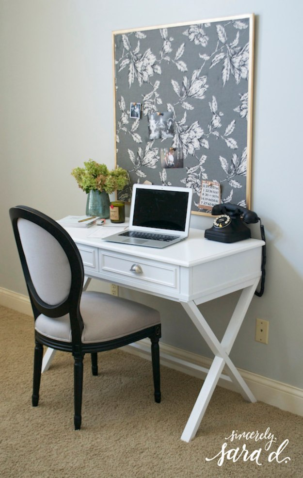 DIY Home Office Decor Ideas - DIY Fabric Bulletin Board - Do It Yourself Desks, Tables, Wall Art, Chairs, Rugs, Seating and Desk Accessories for Your Home Office #office #diydecor #diy