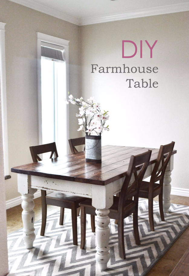 DIY Farmhouse Style Decor Ideas - DIY Farmhouse Kitchen Table - Rustic Ideas for Furniture, Paint Colors, Farm House Decoration for Living Room, Kitchen and Bedroom #diy