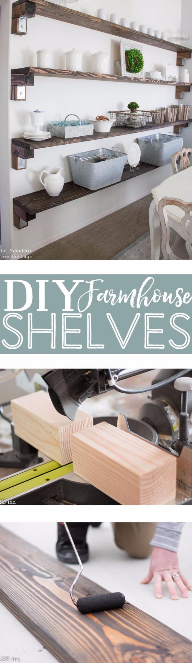 DIY Farmhouse Style Decor Ideas - DIY Farmhouse Shelves - Rustic Ideas for Furniture, Paint Colors, Farm House Decoration for Living Room, Kitchen and Bedroom #diy