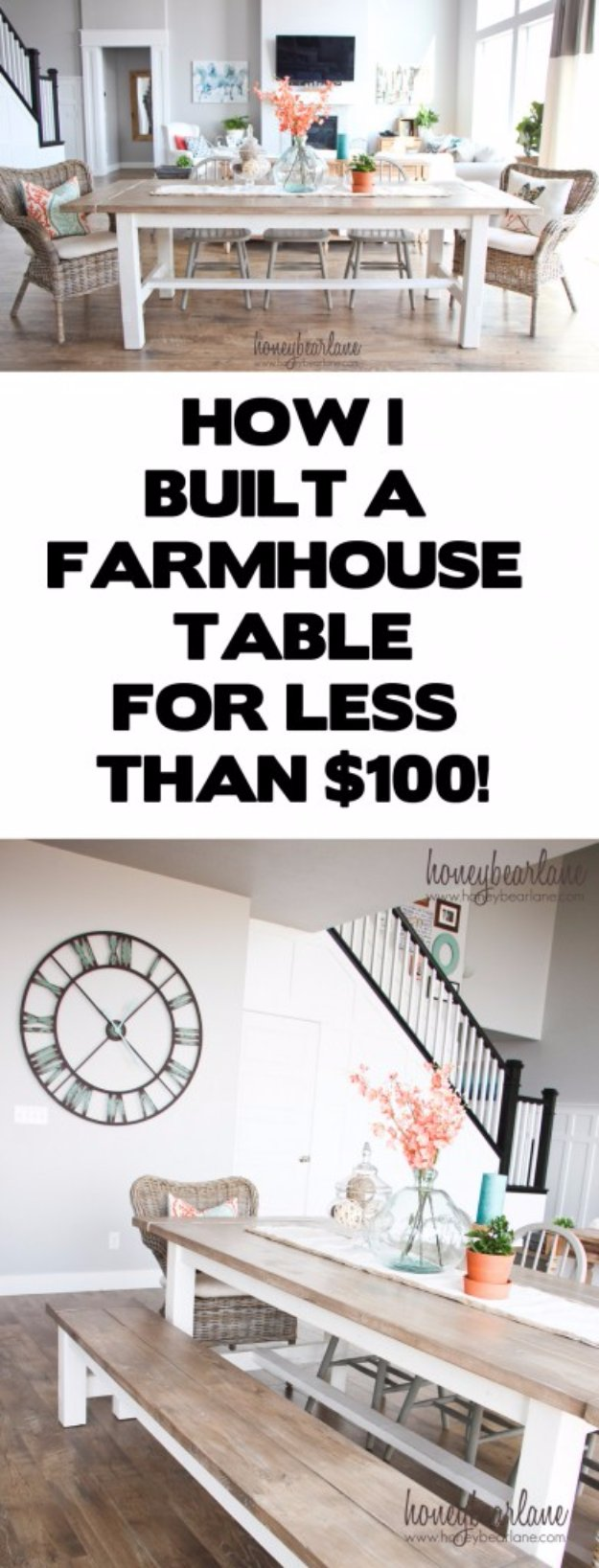 DIY Dining Room Decor Ideas   DIY Farmhouse Table And Bench   Cool DIY  Projects For
