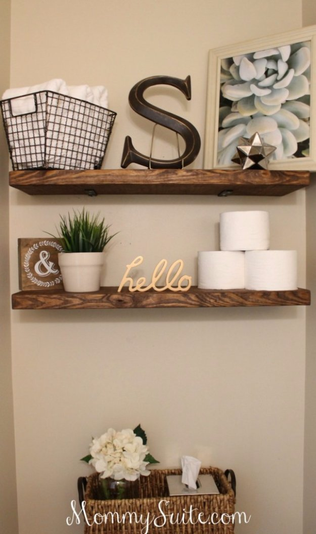 DIY Bathroom Decor Ideas - DIY Faux Floating Shelves - Cool Do It Yourself Bath Ideas on A Budget, Rustic Bathroom Fixtures, Creative Wall Art, Rugs mason jar idea bath diy