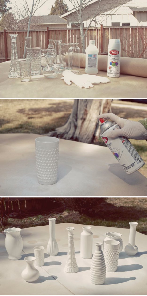DIY Dining Room Decor Ideas - DIY Faux Milk Glass Centerpieces - Cool DIY Projects for Table, Chairs, Decorations, Wall Art, Bench Plans, Storage, Buffet, Hutch and Lighting Tutorials