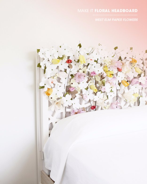 DIY Headboard Ideas - DIY Floral Headboard - Easy and Cheap Do It Yourself Headboards - Upholstered, Wooden, Fabric Tufted, Rustic Pallet, Projects With Lights, Storage and More Step by Step Tutorials #diy #bedroom #furniture