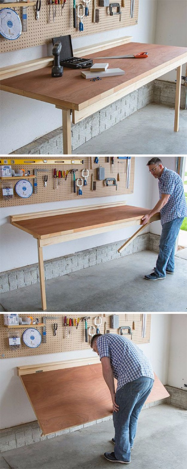 DIY Projects Your Garage Needs -DIY Folding Bench Work Table - Do It Yourself Garage Makeover Ideas Include Storage, Organization, Shelves, and Project Plans for Cool New Garage Decor #diy #garage #homeimprovement