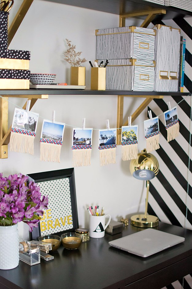 DIY Home Office Decor Ideas - DIY Fringe Photo Garland - Do It Yourself Desks, Tables, Wall Art, Chairs, Rugs, Seating and Desk Accessories for Your Home Office #office #diydecor #diy