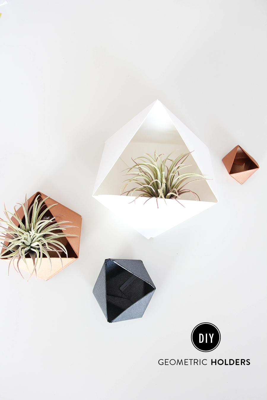 DIY Renters Decor Ideas - DIY Geometric Holders - Cool DIY Projects for Those Renting Aparments, Condos or Dorm Rooms - Easy Temporary Wall Art, Contact Paper, Washi Tape and Shelves to Make at Home #diyhomedecor #diyideas