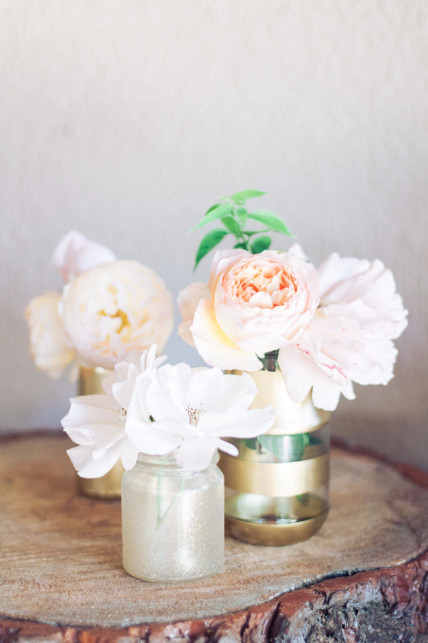DIY Mason Jar Vases - DIY Gold And Glitter Vases Tutorial - Best Vase Projects and Ideas for Mason Jars - Painted, Wedding, Hanging Flowers, Centerpiece, Rustic Burlap, Ribbon and Twine http://diyjoy.com/diy-mason-jar-vases