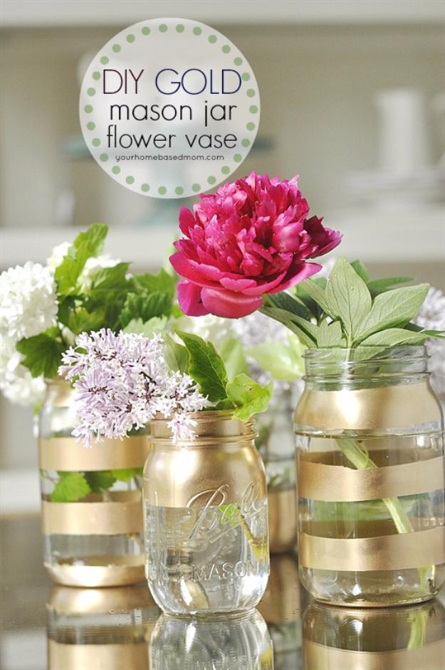 DIY Mason Jar Vases - DIY Gold Mason Jar Flower Vases - Best Vase Projects and Ideas for Mason Jars - Painted, Wedding, Hanging Flowers, Centerpiece, Rustic Burlap, Ribbon and Twine