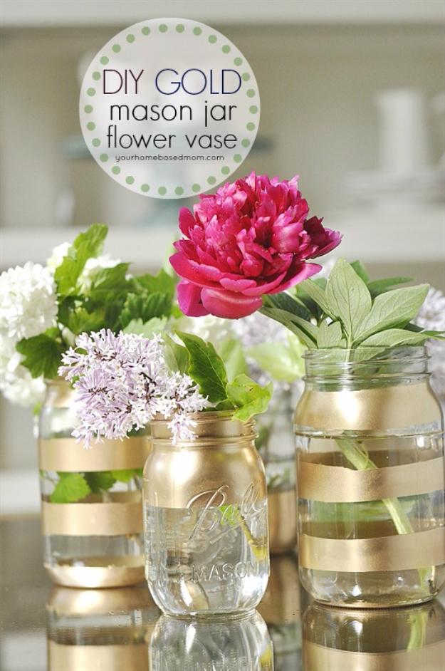 DIY Mason Jar Vases - DIY Gold Mason Jar Flower Vases - Best Vase Projects and Ideas for Mason Jars - Painted, Wedding, Hanging Flowers, Centerpiece, Rustic Burlap, Ribbon and Twine