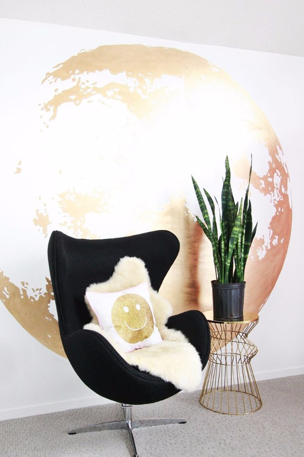DIY Home Office Decor Ideas - DIY Gold Moon Wall - Do It Yourself Desks, Tables, Wall Art, Chairs, Rugs, Seating and Desk Accessories for Your Home Office #office #diydecor #diy