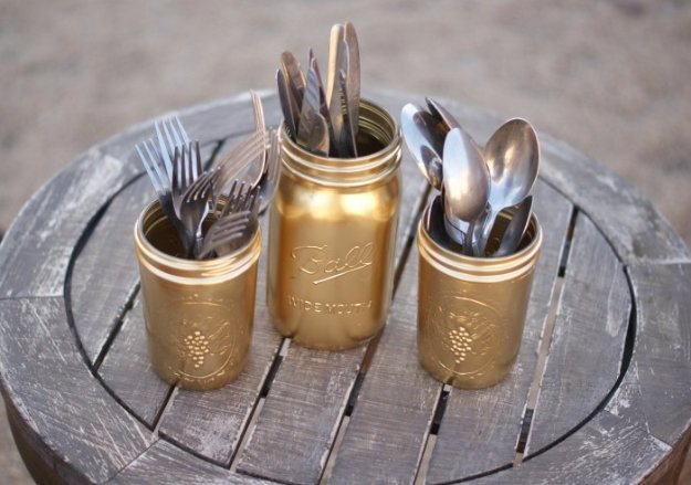 Diy Kitchen Decor Ideas Diy Gold Painted Silverware Mason Jars Creative Furniture Projects