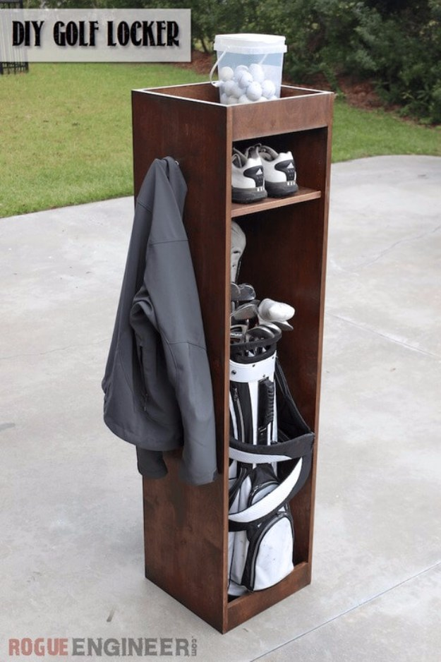 DIY Projects Your Garage Needs -DIY Golf Locker - Do It Yourself Garage Makeover Ideas Include Storage, Organization, Shelves, and Project Plans for Cool New Garage Decor #diy #garage #homeimprovement