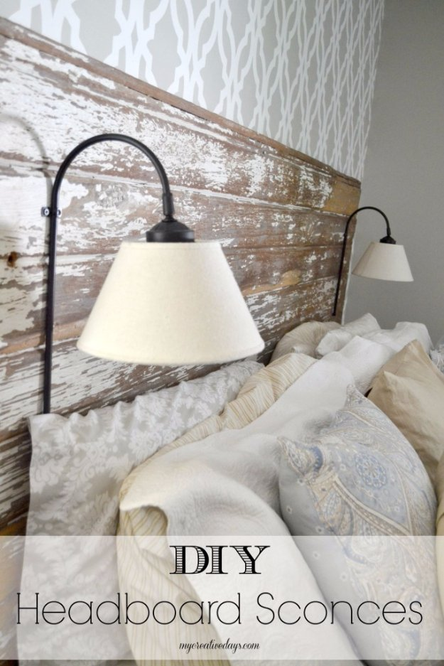 DIY Headboard Ideas - DIY Headboard Sconces - Easy and Cheap Do It Yourself Headboards - Upholstered, Wooden, Fabric Tufted, Rustic Pallet, Projects With Lights, Storage and More Step by Step Tutorials #diy #bedroom #furniture