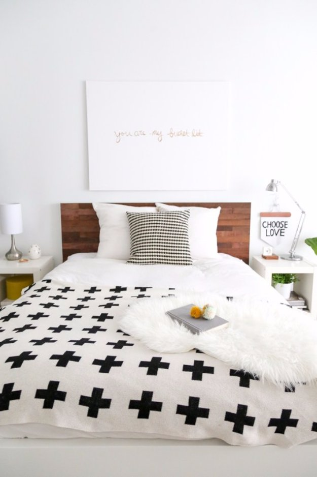DIY Headboard Ideas - DIY Ikea Hack Stikwood Headboard - Easy and Cheap Do It Yourself Headboards - Upholstered, Wooden, Fabric Tufted, Rustic Pallet, Projects With Lights, Storage and More Step by Step Tutorials #diy #bedroom #furniture