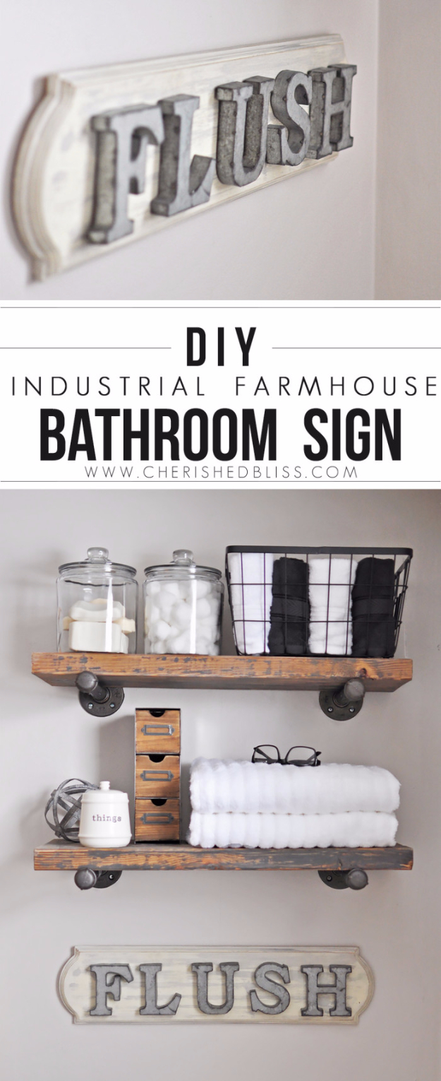 DIY Farmhouse Bathroom and Home Decor Ideas - DIY Industrial Farmhouse Bathroom Sign - Rustic Ideas for Furniture, Paint Colors, Farm House Decoration for Living Room, Kitchen and Bedroom #diy
