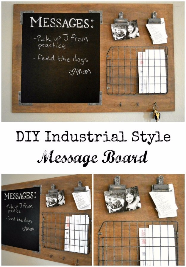 DIY Home Office Decor Ideas - DIY Industrial Style Message Board - Do It Yourself Desks, Tables, Wall Art, Chairs, Rugs, Seating and Desk Accessories for Your Home Office #office #diydecor #diy