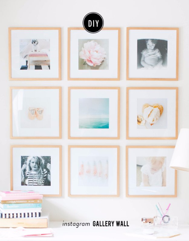 DIY Living Room Decor Ideas - DIY Instagram Gallery Wall - Cool Modern, Rustic and Creative Home Decor - Coffee Tables, Wall Art, Rugs, Pillows and Chairs. Step by Step Tutorials and Instructions