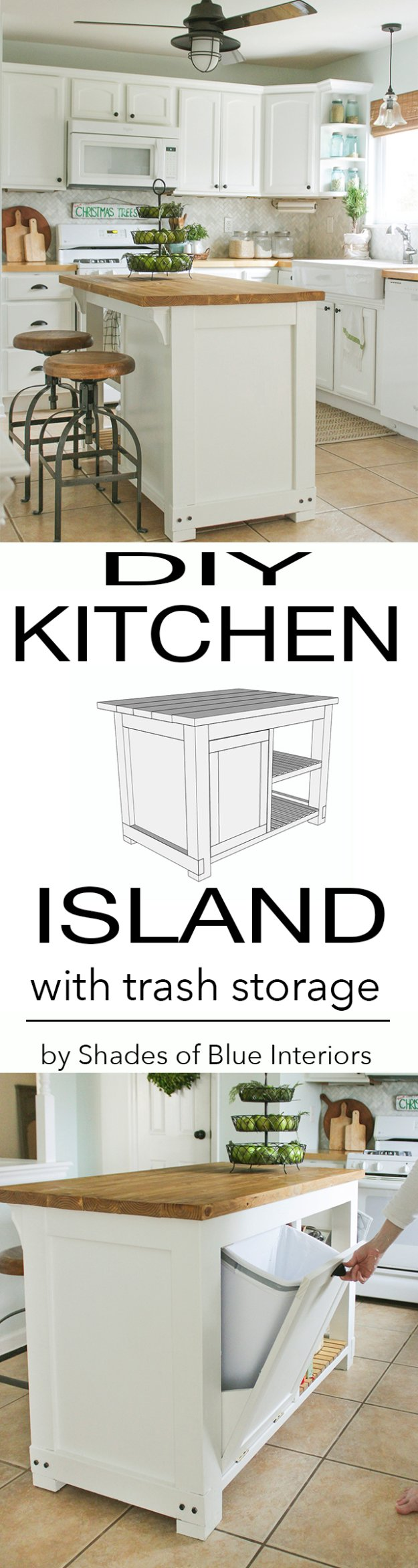 DIY Kitchen Decor Ideas - DIY Kitchen Island With Trash Storage - Creative Furniture Projects, Accessories, Countertop Ideas, Wall Art, Storage, Utensils, Towels and Rustic Furnishings #diyideas #kitchenideass