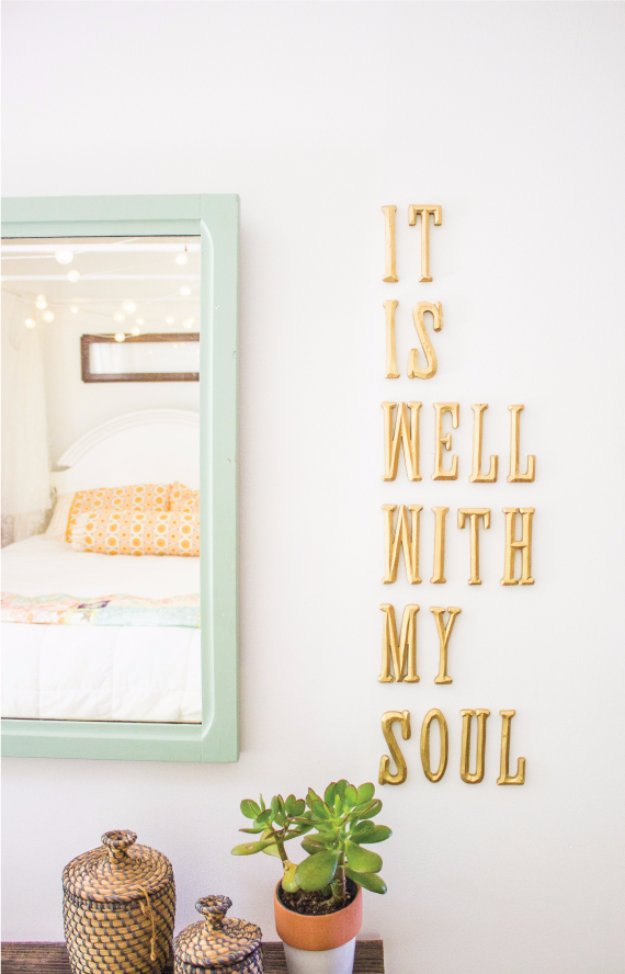 DIY Living Room Decor Ideas - DIY Letters on Wall - Cool Modern, Rustic and Creative Home Decor - Coffee Tables, Wall Art, Rugs, Pillows and Chairs. Step by Step Tutorials and Instructions