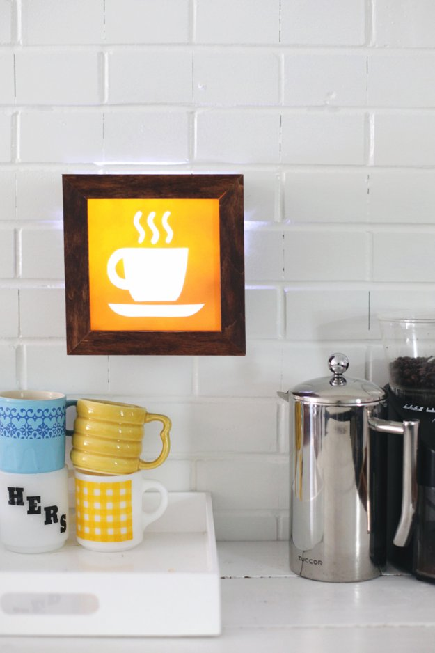 DIY Kitchen Decor Ideas - DIY Light Up Cafe Sign - Creative Furniture Projects, Accessories, Countertop Ideas, Wall Art, Storage, Utensils, Towels and Rustic Furnishings #diyideas #kitchenideass