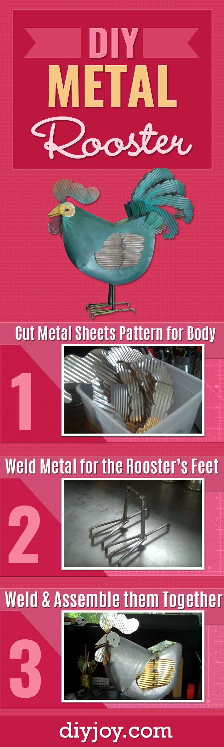 DIY Rustic Decor - DIY Farmhouse Decor Ideas for the Home - Metal Rooster Tutorial - Cheap Kitchen Decorations and Best DIY Christmas Gifts