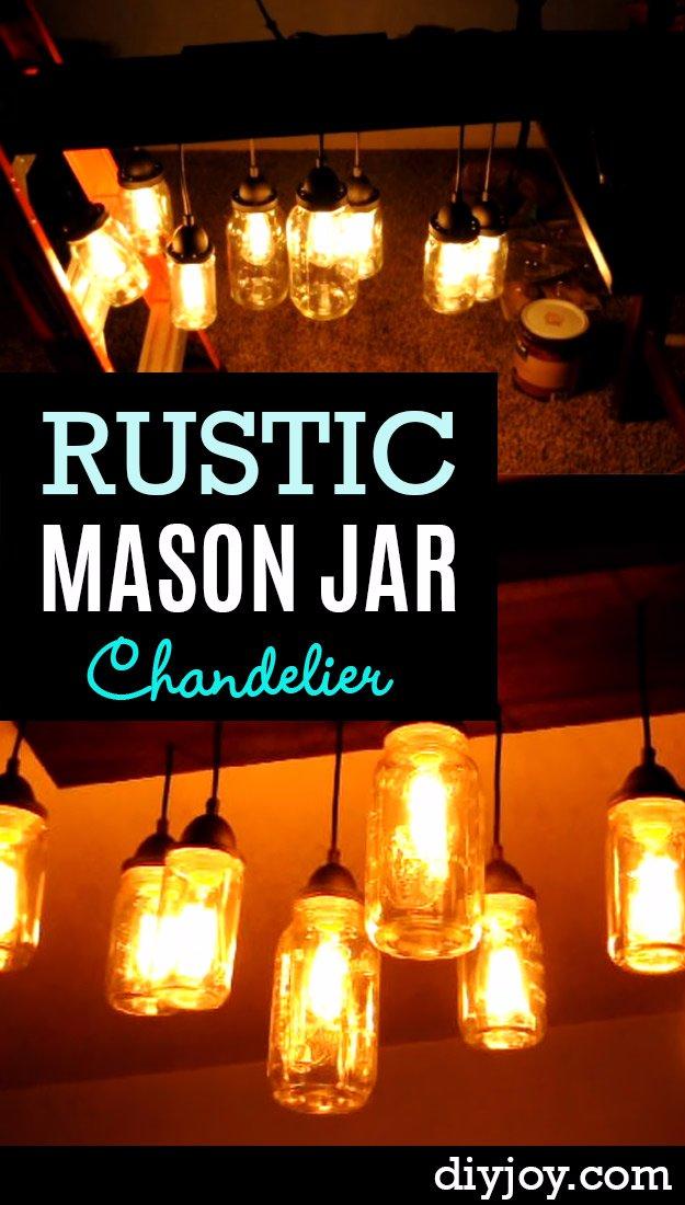 DIY Living Room Decor Ideas - DIY Mason Jar Chandelier - Cool Modern, Rustic and
