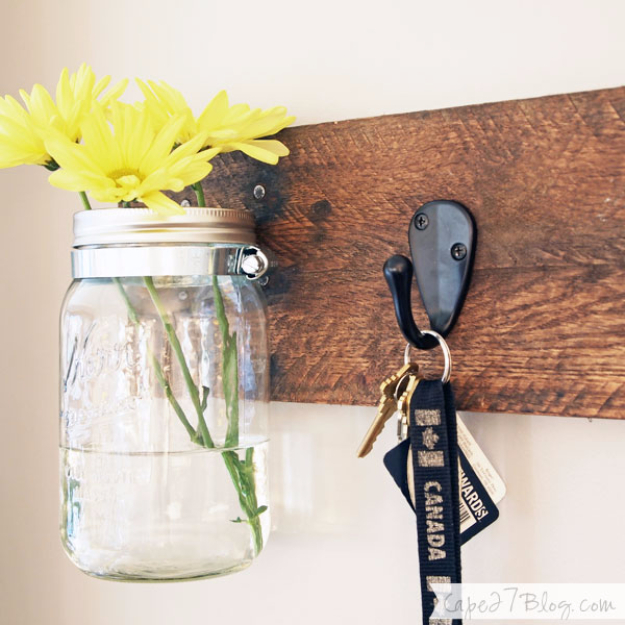 DIY Mason Jar Vases - DIY Mason Jar Vase Key Hooks - Best Vase Projects and Ideas for Mason Jars - Painted, Wedding, Hanging Flowers, Centerpiece, Rustic Burlap, Ribbon and Twine http://diyjoy.com/diy-mason-jar-vases