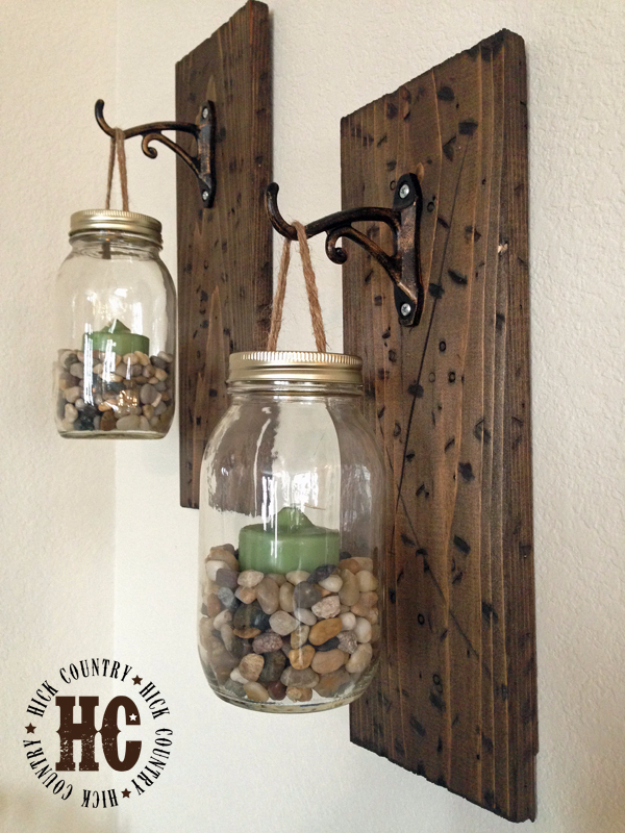 DIY Farmhouse Style Decor Ideas - DIY Mason Jar Wall Lanterns - Rustic Ideas for Furniture, Paint Colors, Farm House Decoration for Living Room, Kitchen and Bedroom http://diyjoy.com/diy-farmhouse-decor-ideas