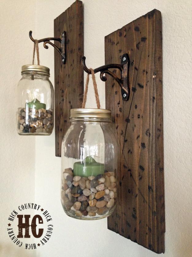 DIY Farmhouse Style Decor Ideas - DIY Mason Jar Wall Lanterns - Rustic Ideas for Furniture, Paint Colors, Farm House Decoration for Living Room, Kitchen and Bedroom #diy