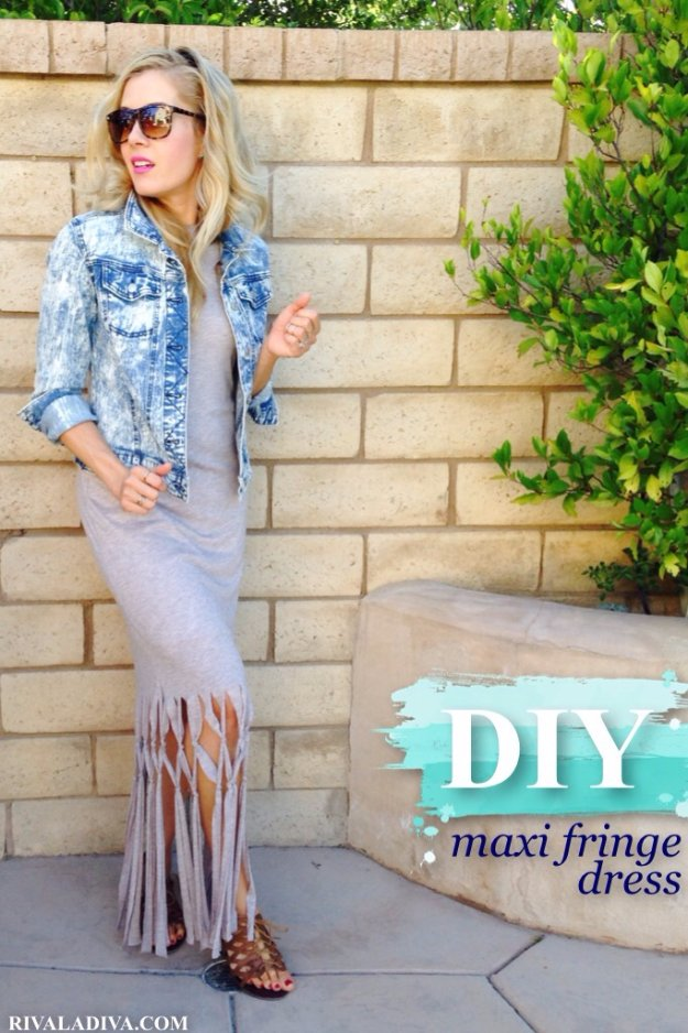 DIY Sewing Projects for Women - DIY Maxi Fringe Dress - How to Sew Dresses, Blouses, Pants, Tops and Fashion. Step by Step Tutorials and Instructions #sewing #fashion