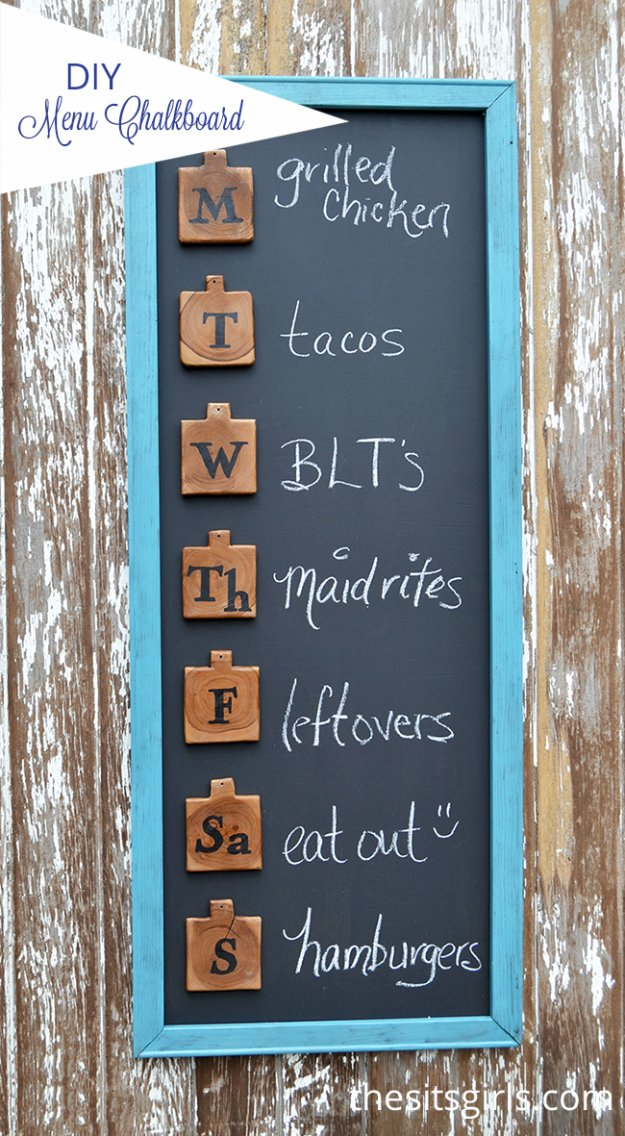 DIY Kitchen Decorating Project Ideas - DIY Menu Board - Creative Furniture Projects, Accessories, Countertop Ideas, Wall Art, Storage, Utensils, Towels and Rustic Furnishings