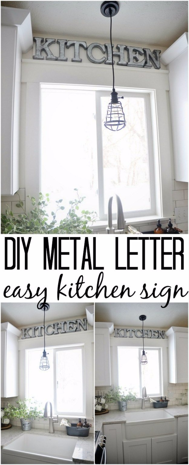 DIY Kitchen Decor Ideas - DIY Metal Letter Industrial Kitchen Sign - Creative Furniture Projects, Accessories, Countertop Ideas, Wall Art, Storage, Utensils, Towels and Rustic Furnishings http://diyjoy.com/diy-kitchen-decor-ideas