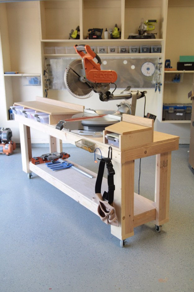 DIY Projects Your Garage Needs -DIY Miter Saw Bench - Do It Yourself Garage Makeover Ideas Include Storage, Organization, Shelves, and Project Plans for Cool New Garage Decor #diy #garage #homeimprovement
