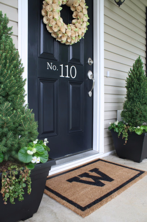 Creative Ways to Increase Curb Appeal on A Budget - DIY Monogrammed Welcome Mat Tutorial - Cheap and Easy Ideas for Upgrading Your Front Porch, Landscaping, Driveways, Garage Doors, Brick and Home Exteriors. Add Window Boxes, House Numbers