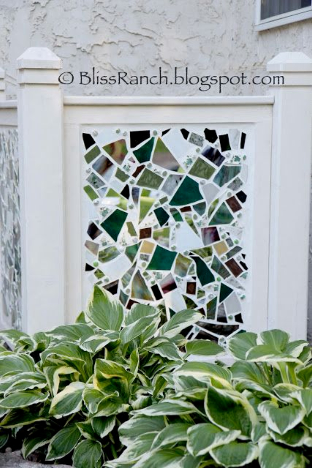 Creative Ways to Increase Curb Appeal on A Budget - DIY Mosaic AC Screen - Cheap and Easy Ideas for Upgrading Your Front Porch, Landscaping, Driveways, Garage Doors, Brick and Home Exteriors. Add Window Boxes, House Numbers