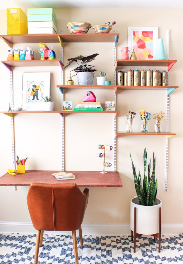 DIY Home Office Decor Ideas   DIY Mounted Wall Desk   Do It Yourself Desks,