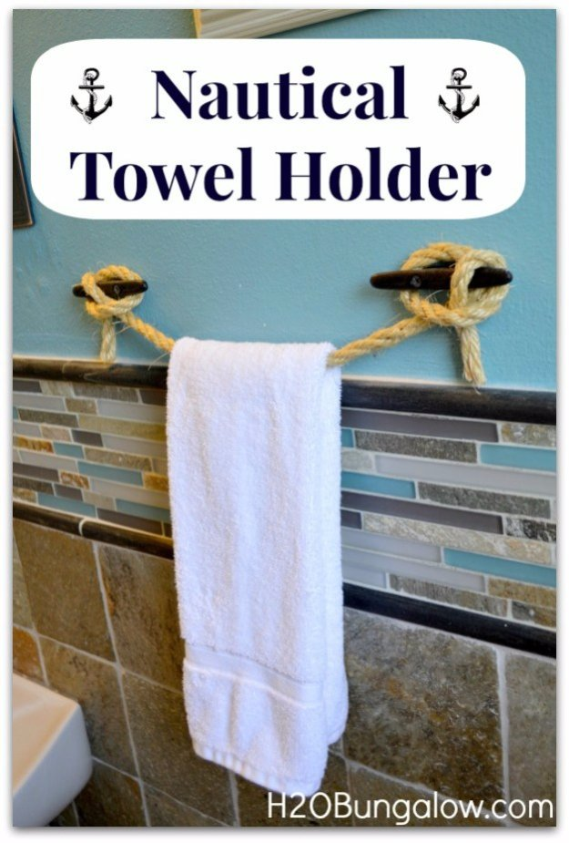 DIY Bathroom Decor Ideas - DIY Nautical Towel Holder - Cool Do It Yourself Bath Ideas on A Budget, Rustic Bathroom Fixtures, Creative Wall Art, Rugs mason jar idea bath diy