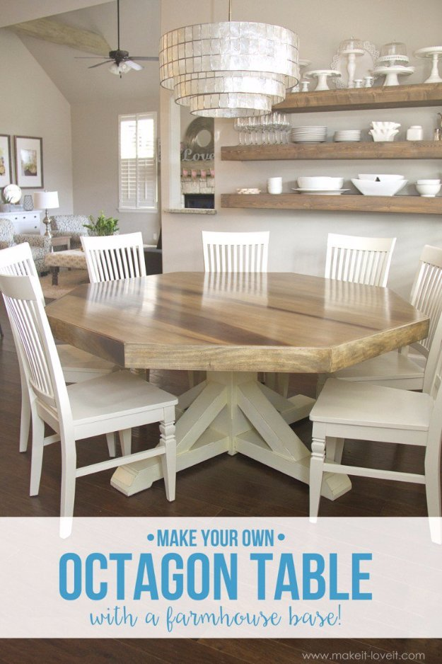DIY Dining Room Decor Ideas - DIY Octagon Dining Room Table With Farmhouse Base - Cool DIY Projects for Table, Chairs, Decorations, Wall Art, Bench Plans, Storage, Buffet, Hutch and Lighting Tutorials