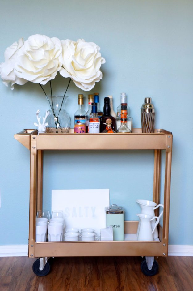 DIY Kitchen Decor Ideas - DIY Painted Gold Bar Kitchen Cart - Creative Furniture Projects, Accessories, Countertop Ideas, Wall Art, Storage, Utensils, Towels and Rustic Furnishings http://diyjoy.com/diy-kitchen-decor-ideas